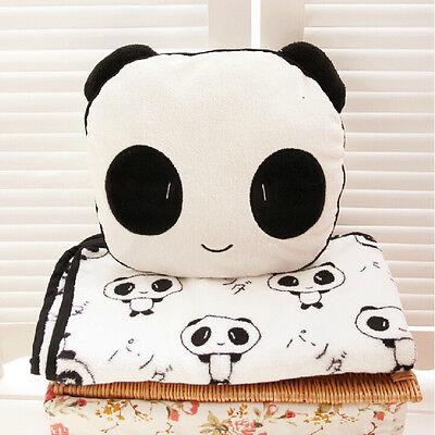Children Panda Plush Coral Fleece Back Cushion Pillow Blanket Quilt Boy Girl