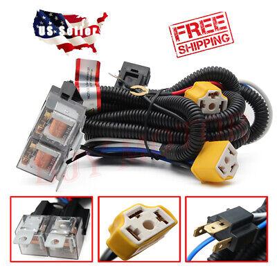2-Headlight H4 Headlamp Light Bulb Ceramic Socket Plugs Relay Wiring on