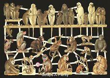 German Victorian Style Scrap Die Cut - Animal Monkey See / Monkey Do   EF7357