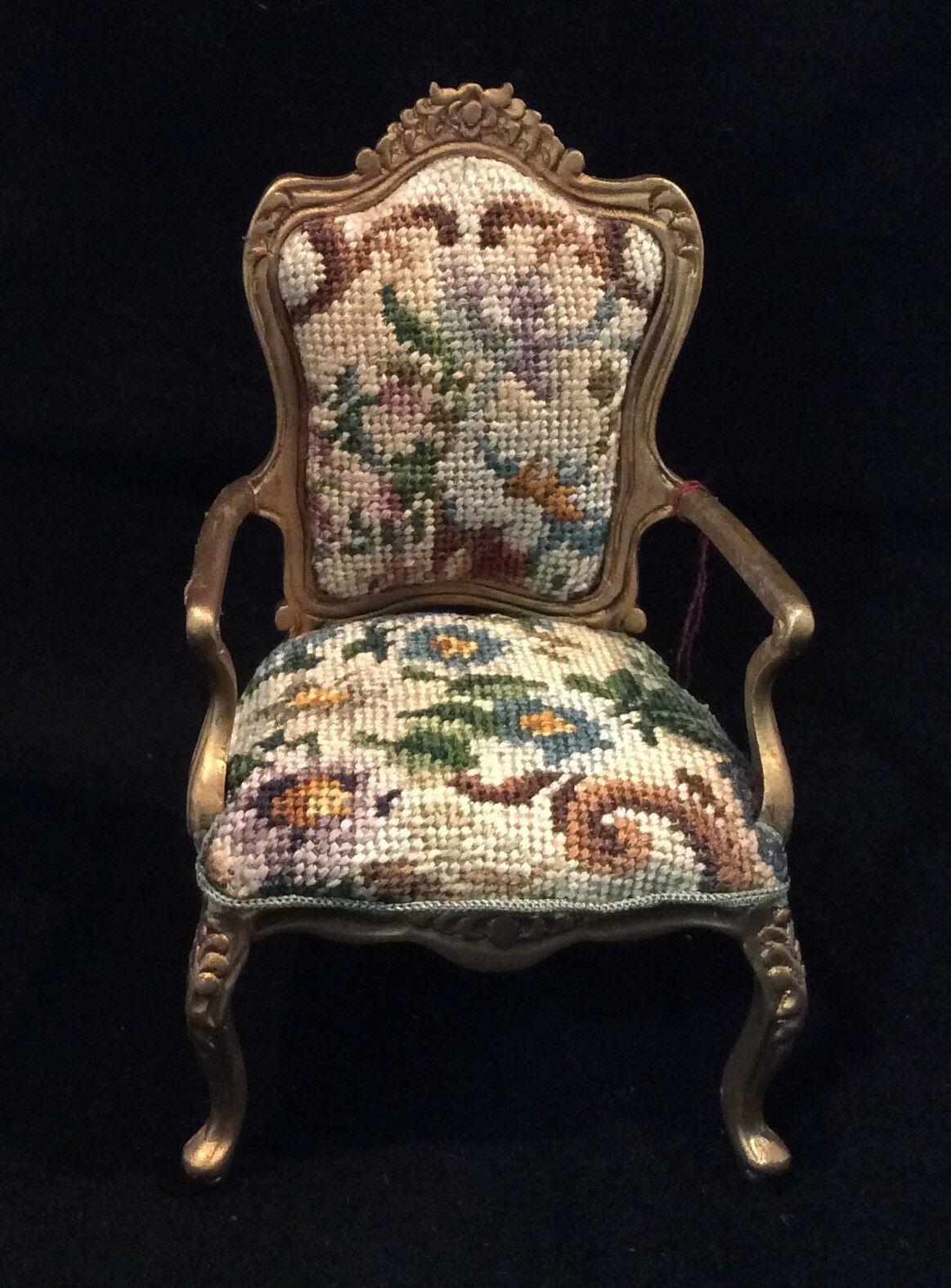 JBM Miniature Dollhouse Arm Chair with antique petit point - needlepoint.