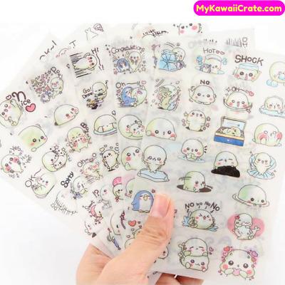 Cute Decorative Sticker Craft Diary Scrapbook 6 Sheets Kawaii Mamegoma Stickers