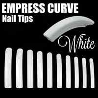 Empress Curve White Long Nail Tips Full Cover You Choose Qty Fast Ship