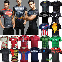 Mens Marvel Superman Compression Base Layer Fitness Short Sleeve Fit T-Shirt Top