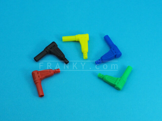 4mm Right Angled Shrouded Banana Plug (5 Colours)