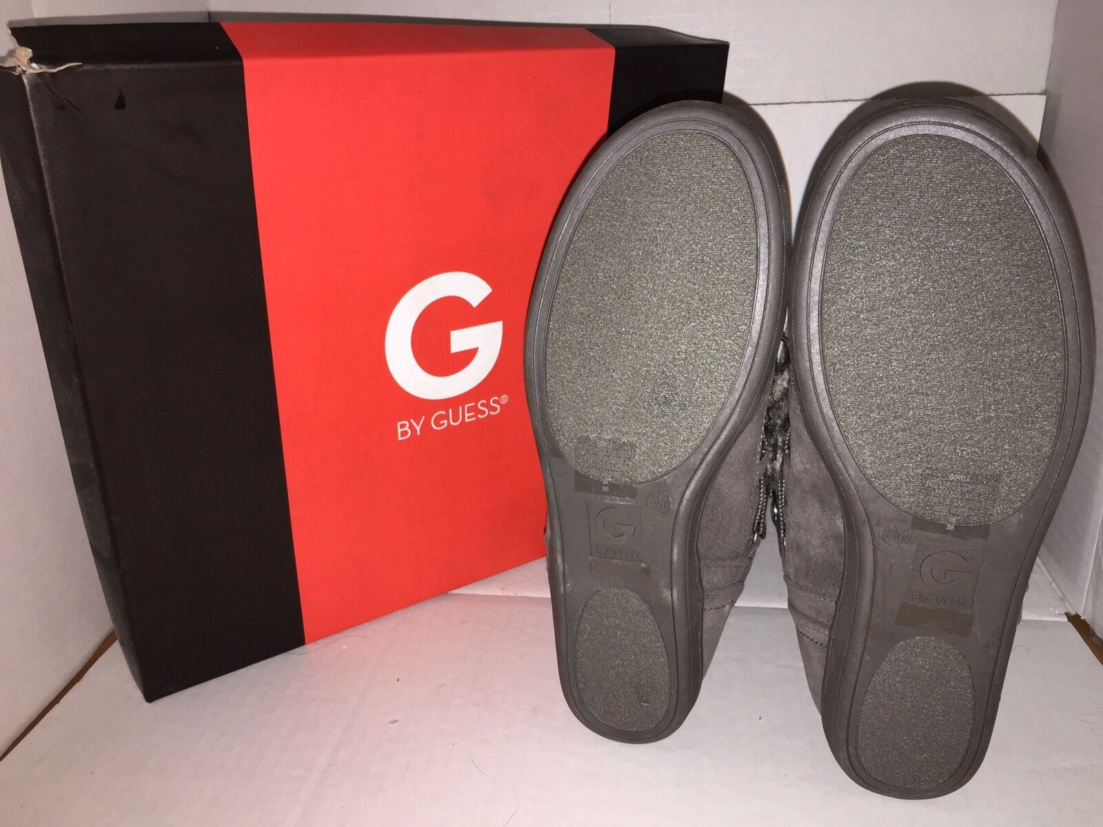 G by Guess Guess Guess Ryla Faux Suede Faux-Fur Trim Booties 10M NIB Charcoal Grey c95526