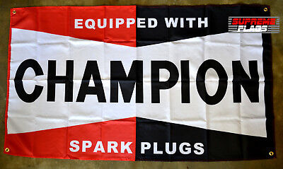 Champion Spark Plug Logo 3X5 Garage Wall Banner Flag Man Cave FREE SHIPPING