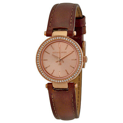 Michael Kors Petite Darci Brown Leather Ladies Watch MK2353