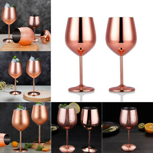 2x-Unbreakable-Elegant-Stainless-Champagne-Goblets-Wine-Glass-Copper-Plated-Cups