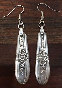 Antik Vintage Löffel Rogers Triumph Blumen Ohrringe Silberbesteck Platte Schmuck