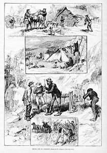 MINING-LIFE-IN-COLORADO-MOUNTAINS-WINTER-CAMP-STAGE-COACH-MULES-TENT-MINERS