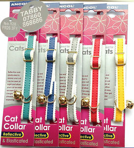 Reflective-Cat-Collars-by-034-ANCOL-034-With-or-Without-Engraved-Pet-ID-Tag-Tags