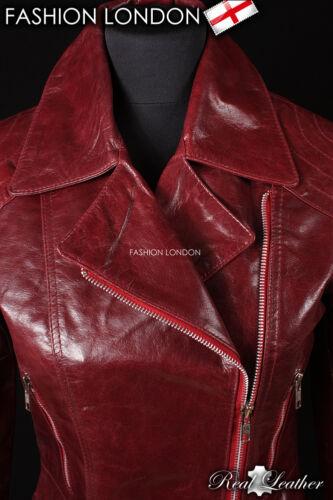 /'DESIRE/' Cherry Red Ladies Classic Style Retro Designer Glazed Leather Jacket