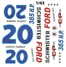 #20 Curtis Turner Schwister Ford 1962 1/43rd Scale Slot Car Waterslide Decals