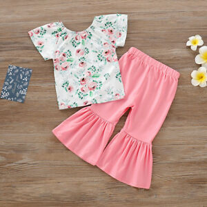 Toddler-Baby-Kid-Girl-Floral-Clothes-Top-T-shirt-Ruffle-Long-Pants-Outfit-Set