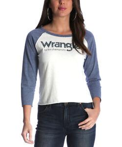 Damen-WRANGLER-T-Shirt-Gr-12-Raglan-Tee-blau-amp-weiss