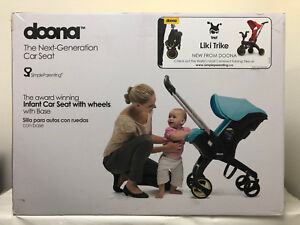 Doona-Infant-Baby-Car-Seat-Travel-Stroller-Marine-Navy-with-Latch-Base-NEW