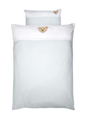 Steiff ropa de cama azul claro vichykaro con Teddy cabeza de 100 x 135 cm nuevo