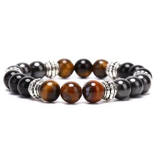 Naturstein Perlen Armband Tigerauge Magie Hämatit Obsidian Armreif Wome W ^XUI