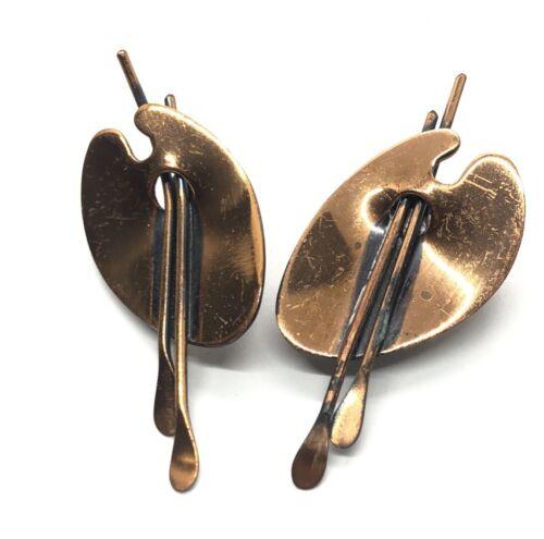 Vintage COPPER Clip Earrings  2 Pair   Mid Century Copper Earrings  Waffle Design w Overlay  Motor Car overlay  Copper Clip Eariings