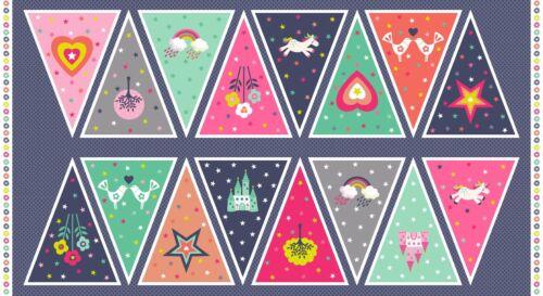 "Makower Fantasy Bunting Panel unicorn rainbow 24x44/"" 100/%cotton fabric,free p/&p,"