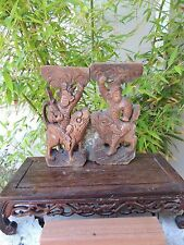 595 P. Antique Carved Wood Panel 2/pcs Artist with Foo Dog