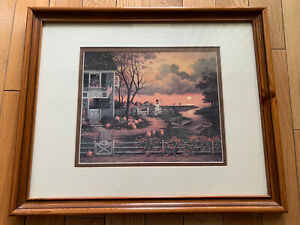 Art-American-Matted-Colored-Print-Glass-With-Wood-Frame-Signed-22x18-and-12x10