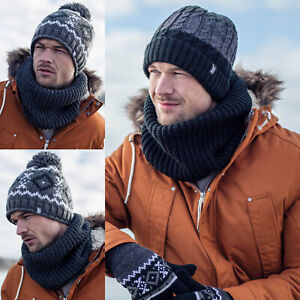 Heat-Holders-Homme-Epais-Tricot-Echarpe-Tube-Cache-Cou-Snood-avec-Double-Polaire