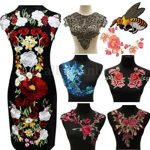 Flower Motif Collar Sew on Patch Applique Badges Embroidered Bust Fashion Dress