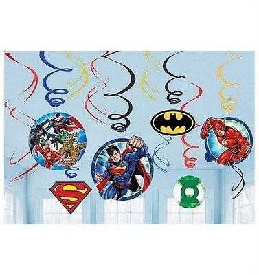 Justice League Hanging Dangling Swirl Decorations (12 Piece Set) - 671585