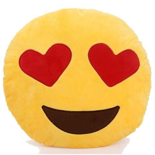 Emoji Cat Heart Eyes Emoticon Yellow Round Cushion Pillow