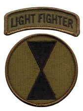 7th Infantry Division OD patch with Lightfighter Tab - US Light Infantry Ft Ord