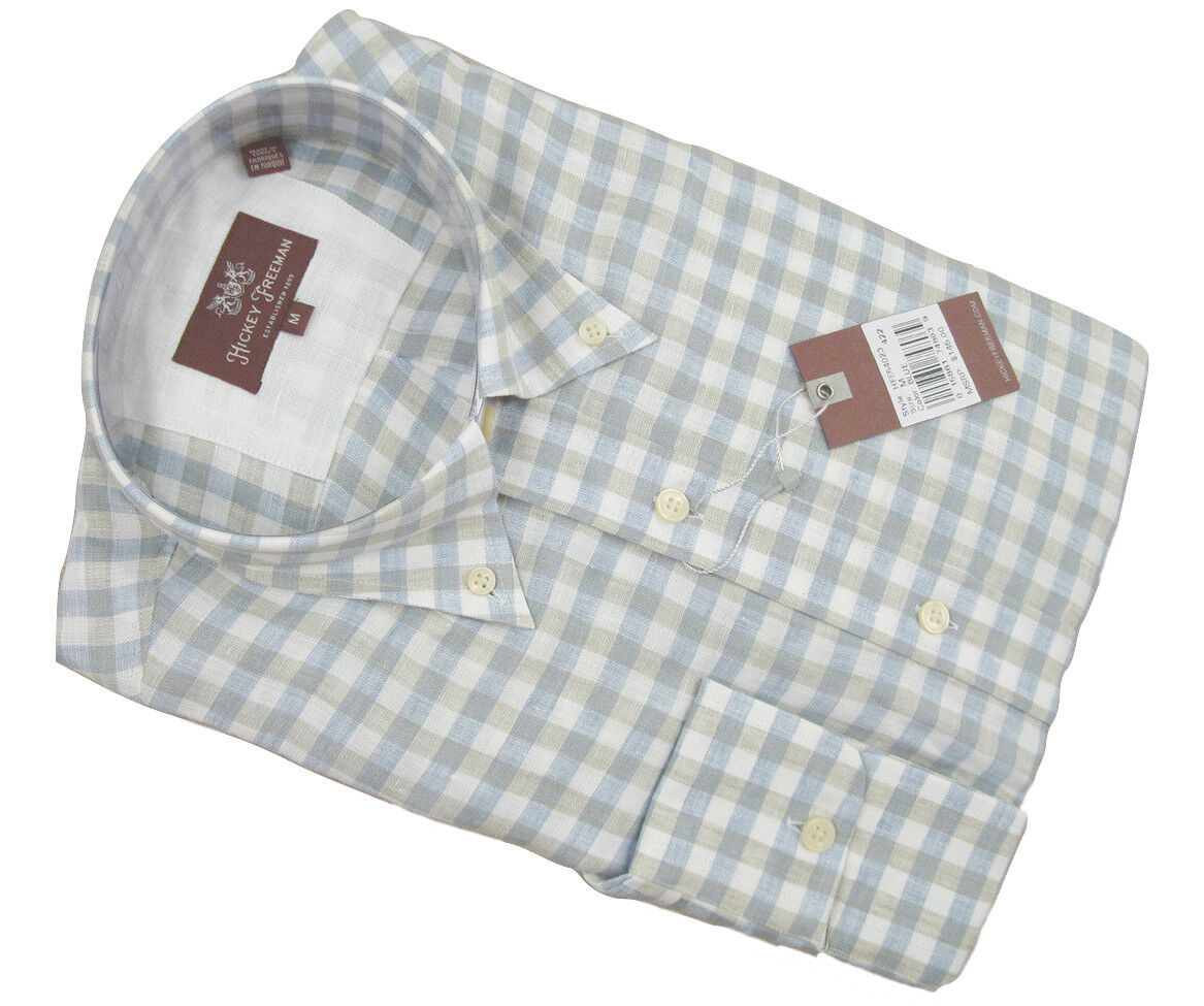 NEW  145 Hickey Freeman Linen Button Front Shirt   M   Tan bluee & White Plaid