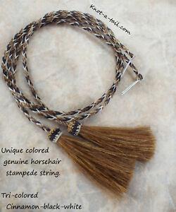 Horsehair stampede string, hat string, cotter-pin, Brown/Black/wh