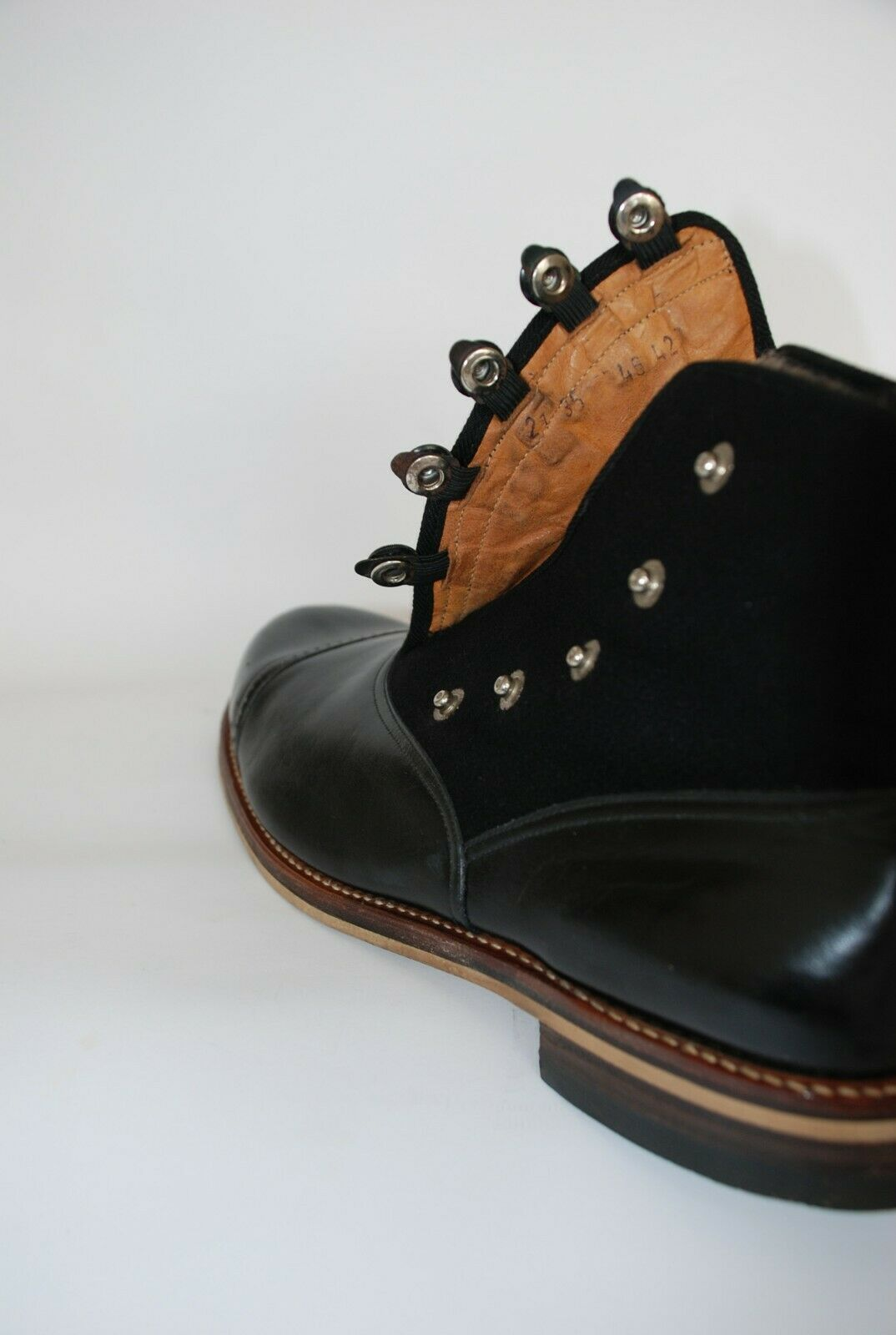 STUNNING PAIR OF ORIGINAL 1930S BLACK LEATHER AND… - image 8