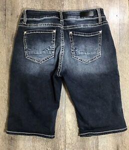 Daytrip-Buckle-VIRGO-Bermuda-Denim-Jean-Shorts-Womens-Size-30-Stretch-Dark-Wash