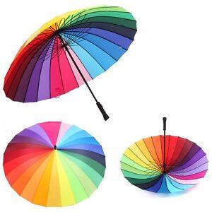 women 39 s rainbow color rain umbrella straight handle. Black Bedroom Furniture Sets. Home Design Ideas