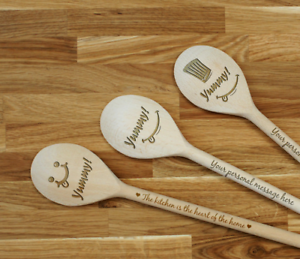 Details about Engraved Personalized wooden SPOON Yummy! laser cut with any  design!