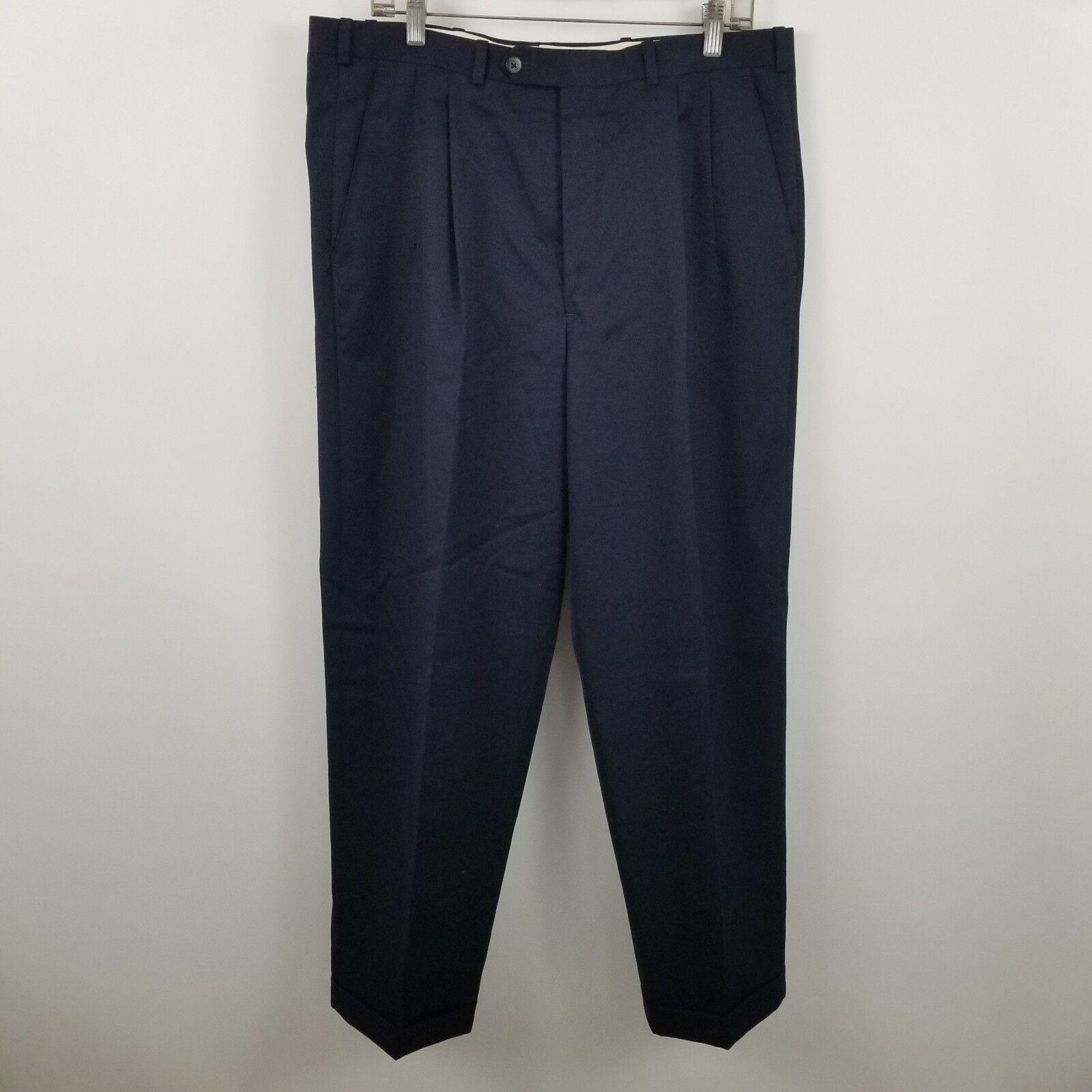 Nordstrom JB Britches Men's Pleated Dark bluee Dress Pants Size 36 x 28