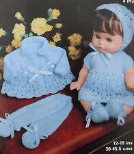 Baby Doll Vintage Knitting Pattern Lacy Coat Dress Bonnet Bootees Leggings M1961