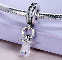 Authentic.925 Solid Sterling European Charm Fit Pan Bracelet Baby Pacifier