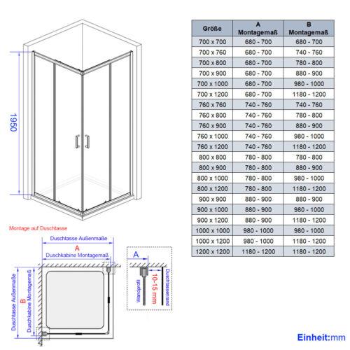 Duschabtrennung Duschkabine 70x90 80x80 90x90 dusche eckeinstieg Schiebetür Glas