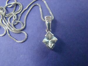Radiant CZ Sterling Silver .925 Pendant Necklace 16 inch