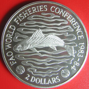 1984-LIBERIA-2-SILVER-PROOF-WORLD-FISHERIES-CONFERENCELONG-NECK-CROACKER-FISH