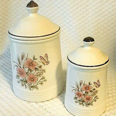 Ceramic Kitchen Canisters 2 PC Set Lids Floral Ivory Pink Flowers Vintage  Japan   eBay