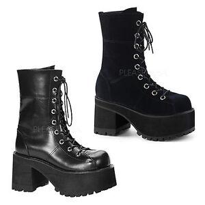 DEMONIA-By-Pleaser-Ranger-301-Platform-Goth-Punk-GoGo-Black-Boot-With-Zipper