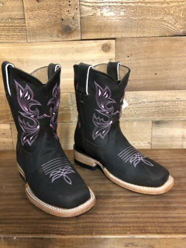 Kid's  Western Square Toe Cowboy Boots Size 6  Brown With Pink Stitching