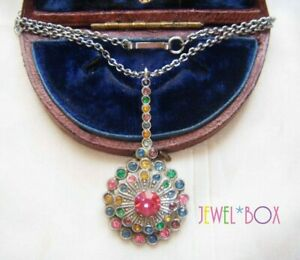 ANTIQUE-ART-DECO-TUTTI-FRUTTI-PASTE-CRYSTAL-VINTAGE-PENDANT-NECKLACE-DOG-CLASP