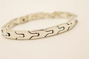 Taxco-Mexican-925-Sterling-Silver-Bracelet-40g-19cm-7-5-034