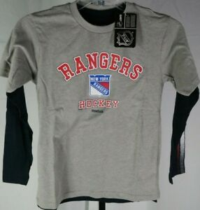 New-York-Rangers-Combo-Pack-1-Short-1-Long-Sleeve-Shirt-Medium-Reebok-NHL-T3