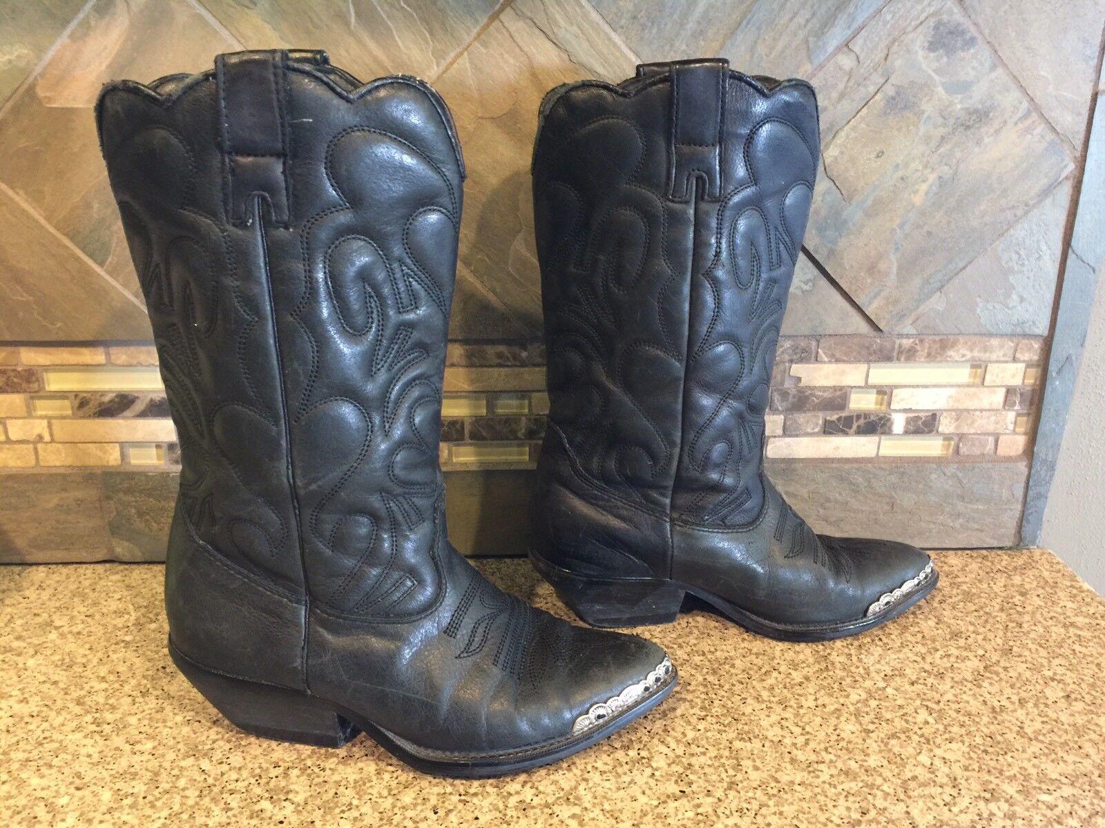Womens Zodiac Sz 7M Black Leather Cowboy Boots Fancy Silver Tips